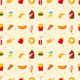 Seamless fast food pattern Stock Image