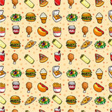Seamless fast food pattern Royalty Free Stock Photography