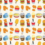Seamless fast food pattern Royalty Free Stock Image