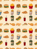 Seamless fast food pattern Royalty Free Stock Images