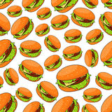 Seamless fast food pattern with burgers Stock Photography