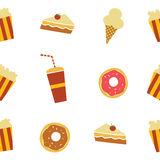 Seamless fastfood restaurant theme pattern. Art illustration Royalty Free Stock Photo