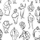 Seamless Fat Men Wall Art Pattern Stock Image