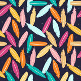 Seamless feathers pattern. In colors Stock Images