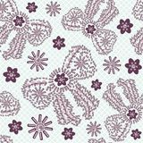 Seamless female bows and flowers pattern from brilliant stones, decorated purple and pink. Royalty Free Stock Image