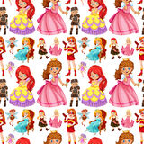 Seamless female characters from fairytales Royalty Free Stock Images