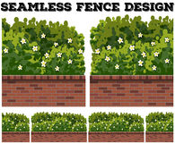 Seamless fence design with bush and flowers Stock Image