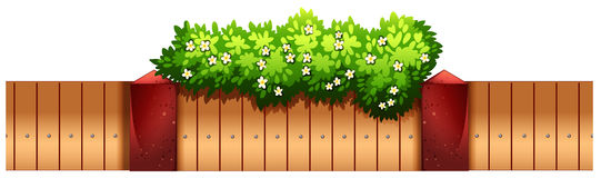 Seamless fence design with flowers Stock Photos