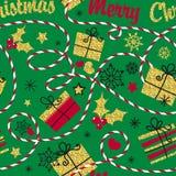seamless feriemodell Övervintra bakgrund för inpackningspapper och kort med guld- glänsande snöflingor, en julgran, gåvor vektor illustrationer