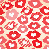 Seamless festive background with lips and hearts. Decorative celebratory seamless background with lips and hearts Stock Image
