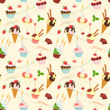 Seamless festive birthday cakes  and ice-cream pattern. Flat sty Stock Image