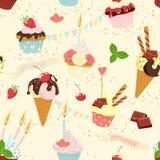 Seamless festive birthday cakes  and ice-cream pattern. Flat sty. Vector illustration Seamless festive birthday cakes  and ice-cream pattern. Flat style Stock Image