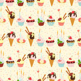 Seamless festive birthday cakes  and ice-cream pattern. Flat sty Royalty Free Stock Photo