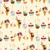 Seamless festive birthday cakes  and ice-cream pattern. Flat sty. Vector illustration Seamless festive birthday cakes  and ice-cream pattern. Flat style Royalty Free Stock Photo