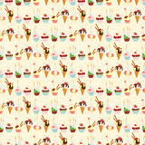Seamless festive birthday cakes  and ice-cream pattern. Flat sty Stock Photos