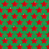 Seamless festive Christmas background with stars and snowflakes on green. Background Stock Image