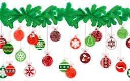Seamless festive Christmas garland with fir and. Different glass balls Stock Images