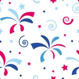 Seamless festive colored firework pattern and stars. Vector seamless festive colored firework pattern and stars Royalty Free Stock Photo