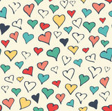 Seamless Festive Love Abstract Pattern with Hand Drawn Hearts on Stock Photo