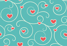 Seamless Festive Love Abstract Pattern with Hearts on Blue Royalty Free Stock Image