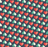 Seamless Festive Love Abstract Pattern with Hearts on Dark Blue Royalty Free Stock Photos