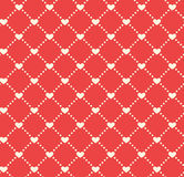 Seamless Festive Love Abstract Pattern with Hearts on Red Stock Photos