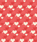 Seamless Festive Love Abstract Pattern with Hearts on Red. Background Stock Photo