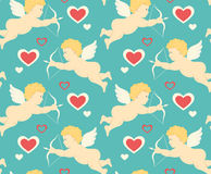 Seamless Festive Love Pattern with Cupid and Hearts on Blue Royalty Free Stock Images