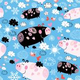 Seamless festive New Year`s pattern with pigs royalty free illustration