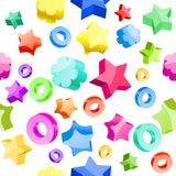Seamless festive pattern. With many-colored stars and circles Royalty Free Stock Images
