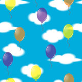 Seamless festive pattern from balloons and clouds. Royalty Free Stock Photo