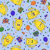 Seamless festive pattern with cats. Birthday, holiday. Vector il. Lustration Royalty Free Stock Images