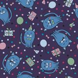 Seamless festive pattern with cats. Birthday, holiday. Vector il. Lustration Royalty Free Stock Image