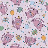Seamless festive pattern with cats. Birthday, holiday. Vector. Illustration Stock Images