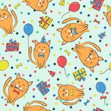 Seamless festive pattern with cats. Birthday, holiday. Vector. Illustration Stock Photos