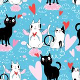 Seamless festive pattern with cats in love vector illustration