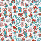 Seamless festive pattern. Doodles gifts on white background. Boundless texture can be used for web page backgrounds, wallpapers, wrapping papers, invitation Stock Photography