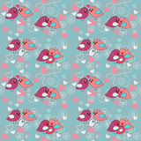 Seamless festive pattern with flowers and birds. Seamless festive pattern with a flowers and birds Royalty Free Stock Images