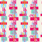 Seamless festive pattern with gifts and birds Royalty Free Stock Photography