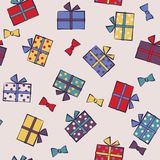Seamless festive pattern with gifts. Birthday, holiday. Vector i. Llustration Royalty Free Stock Photos