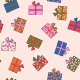 Seamless festive pattern with gifts. Birthday, holiday. Vector i Royalty Free Stock Image
