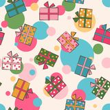Seamless festive pattern with gifts. Birthday, holiday. Vector i. Llustration Stock Photo