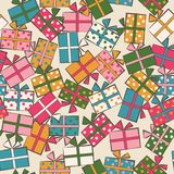 Seamless festive pattern with gifts. Birthday, holiday. Vector i. Llustration Royalty Free Stock Image