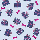 Seamless festive pattern with gifts. Birthday, holiday. Vector i Stock Image