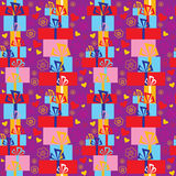 Seamless festive pattern with gifts and flowers Royalty Free Stock Images