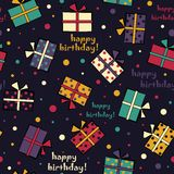 Seamless festive pattern with gifts. Happy Birthday Vector illus. Tration Stock Photography