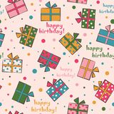 Seamless festive pattern with gifts. Happy Birthday Vector illus. Tration Royalty Free Stock Images