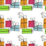 Seamless festive pattern with gifts. On a white background Royalty Free Stock Photography