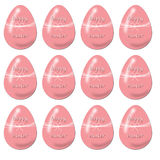 Seamless festive pattern of glossy pink eggs stock images