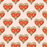 Seamless festive pattern with hand-drawn christmas gingerbread hearts. Endless traditional texture for Christmas design, fabrics, royalty free illustration
